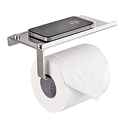 Toilet Paper Holder, Sumnacon Stainless Steel Bathroom Tissue Holder With  Mobile Phone Storage Shelf