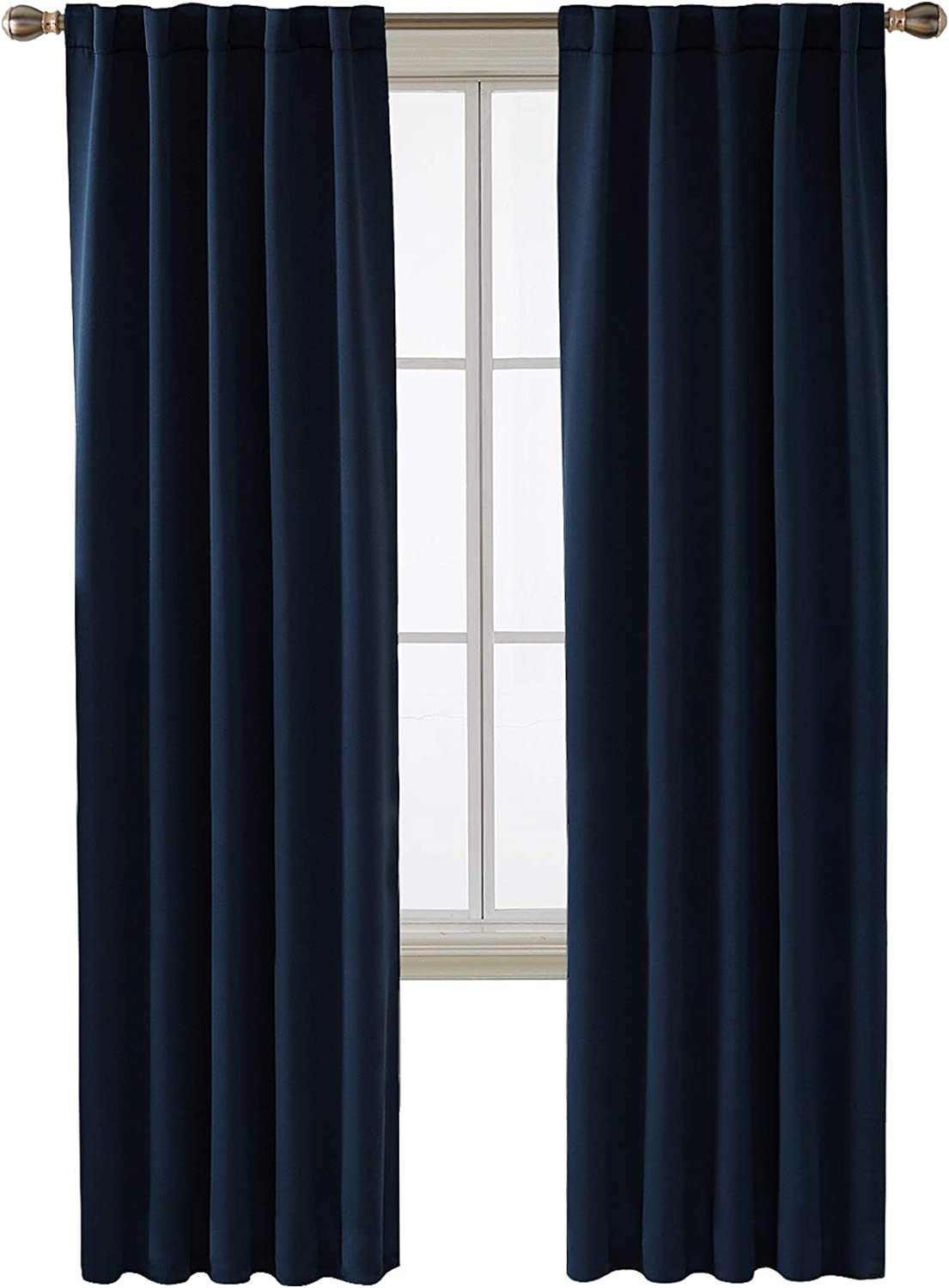 Deconovo Back Tab and Rod Pocket Blackout Curtains for Living Room Thermal Insulated Light Blocking Curtains 42x84 Inch Navy Blue 2 Panels