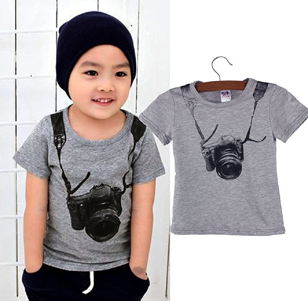 Mapletop Summer Children Boy Camera Short Sleeve Tops T Shirt Tees Clothes