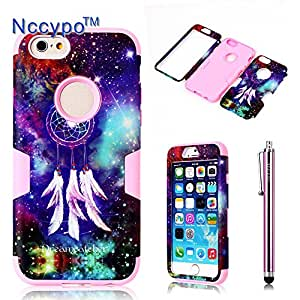 iPhone 6 Case, Nccypo Fashion Hybrid Three-Layer Hard Soft Combo High Impact Resistant Bumpers Slim Back Case Cover For Apple iPhone 6(4.7 inch)[Dreamcatcher+Starry Sky Design-Pink] with Stylus