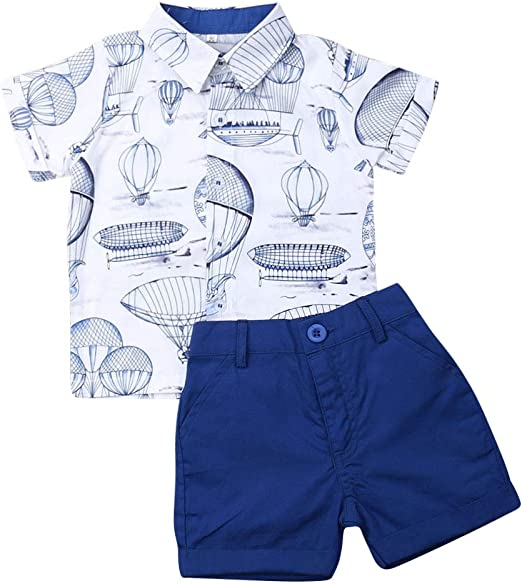 Dinosaur Button Down Shirt Baby Gentleman Tops+Shorts Pants Outfits Set