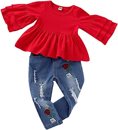 Amazon Com Xeduo Baby Kid Girl Frill T Shirt Tops Floral Embroidery Denim Pants Outfit Set Clothing