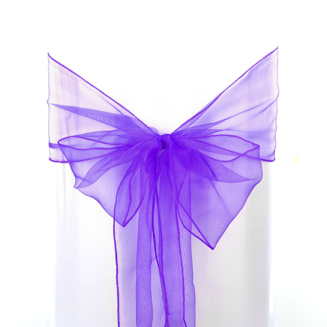 uxcell 50pcs Organza Sashes Chair Cover Bows Sash Fuller Bow for Wedding Party Birthday Banquet Event Decoration Purple