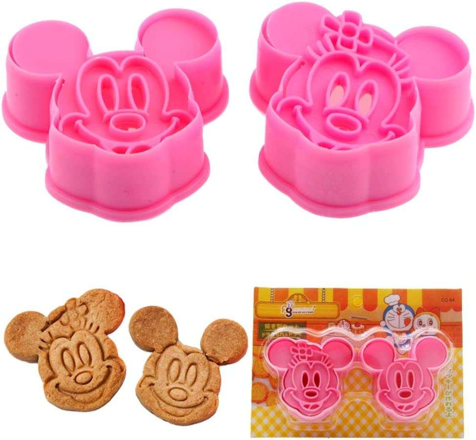 KAISHANE 2pcs Mickey & Minnie Cookie Cutters Cake Baking Sugarcraft Crafts Mold Bakeware-plastic
