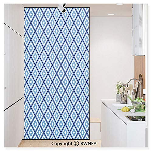 Window Film No Glue Glass Sticker Geometric Diamond Shaped Internal Squares Artistic Minimalist Design Static Cling Privacy Decor for Kitchen Bathroom 17.7x59.8inches,Navy Sky Blue White ()