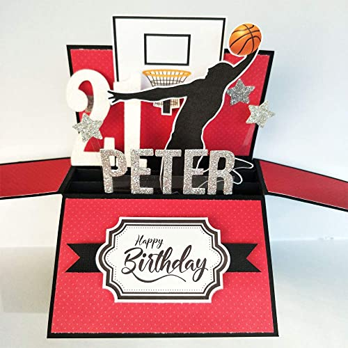 Amazon NAME Age Personalised Birthday Card Basketball