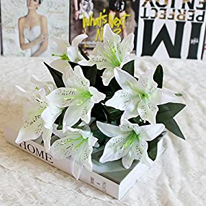 Takefuns Latex Faux Flower Real Touch Artificial Calla Lily Flower Bouquet Wedding Party Home Garden Restaurant Decoration Bridal Wedding Bouquet- Bunch of 10 7