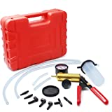 HTOMT 2 in 1 Brake Bleeder Kit Hand held Vacuum Pump Test set for Automotive with Sponge Protected Case,Adapters,One-man brake and clutch bleeding System 2018 new