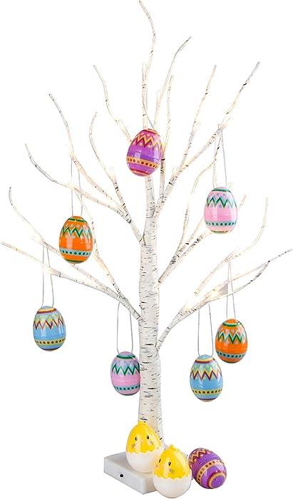 Vanthylit Easter Decor, Pre-lit 2FT Easter Egg Floral Tree Lights with Timer Centerpiece Decoration Tabletop for Easter Home Wedding Holiday