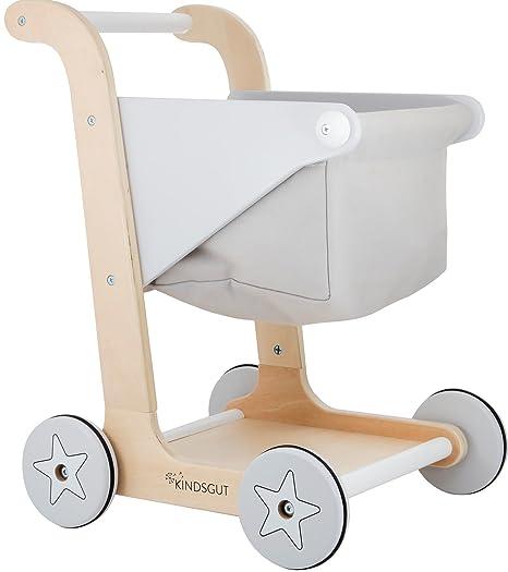 KINDSGUT Carrito de compras hecho de madera con cesta, accesorio para jugar y aprender a