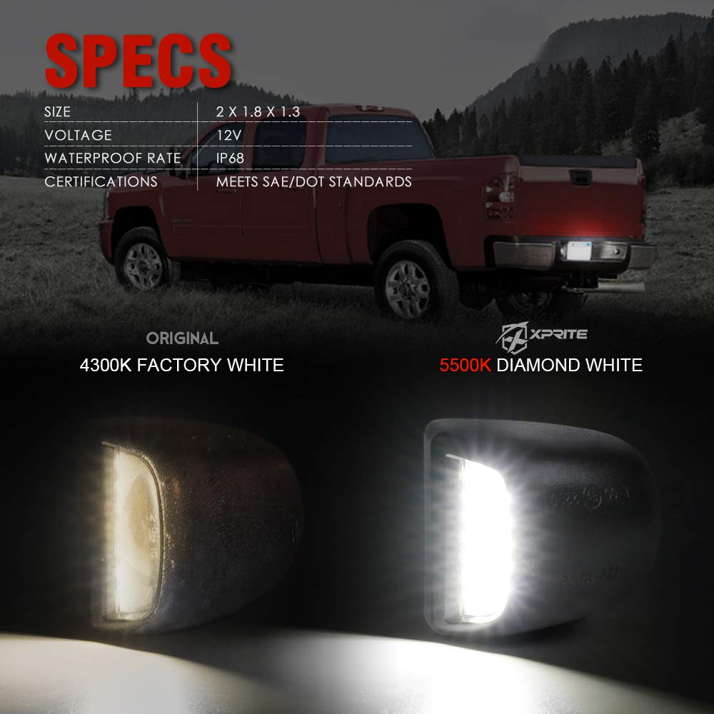 Xprite White LED License Plate Light Tag Lamp Assembly Replacement with Red Running Lamp For Nissan Armada//Frontier//Titan//Xterra//Suzuki Equatorx