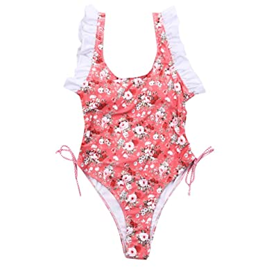 2e0377e2e3b Amazon.com: 💕Womens Swimsuits💕EDC Siamese Printing Ruffle Backless Dress Bikini  Bathing Suit Monokini Beachwear Swimwear: Clothing