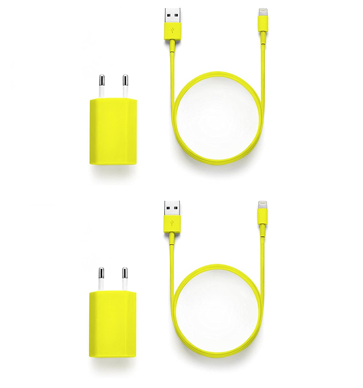 iProtect Set 4 en 1: 2X Cable Cargador USB + 2 Adaptador Corriente para Apple iPhone SE, 5, 5s, 5c, 6, 6s, 6s Plus, iPod Touch 5G, iPad Mini 1+2, iPad ...