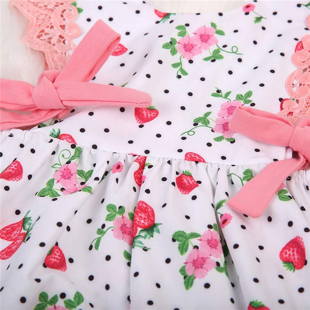 2019 Hot Sale!Cuekondy Newborn Toddler Baby Girls Polka Dot Strawberry Printed Romper Bodysuit Jumpsuit Summer Clothes
