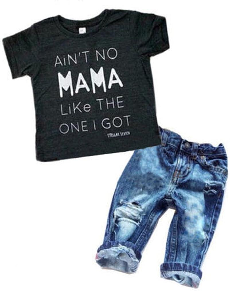 2Pcs/Set Toddler Kids Baby Boy T-Shirt Tops Denim Pants Trousers Outfits Clothes 61P2BBvh2scL