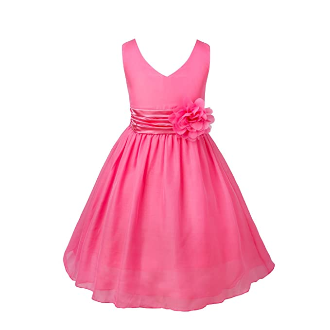 a744a7dfd FEESHOW Vestido de encaje niñas Flor Formal Boda de dama de honor fiesta  princesa Bautizo