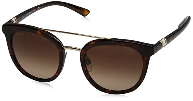 a4691708bf2 Amazon.com  Bvlgari Women s BV8184B Sunglasses Dark Havana Brown ...