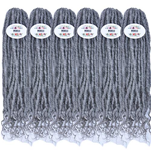 MSBELLE 6 Packs/lot Crochet Goddess Locs Braids Straight Hair with Curly Ends Synthetic Faux Locs Crochet Braiding Hair Extensions Grey ()