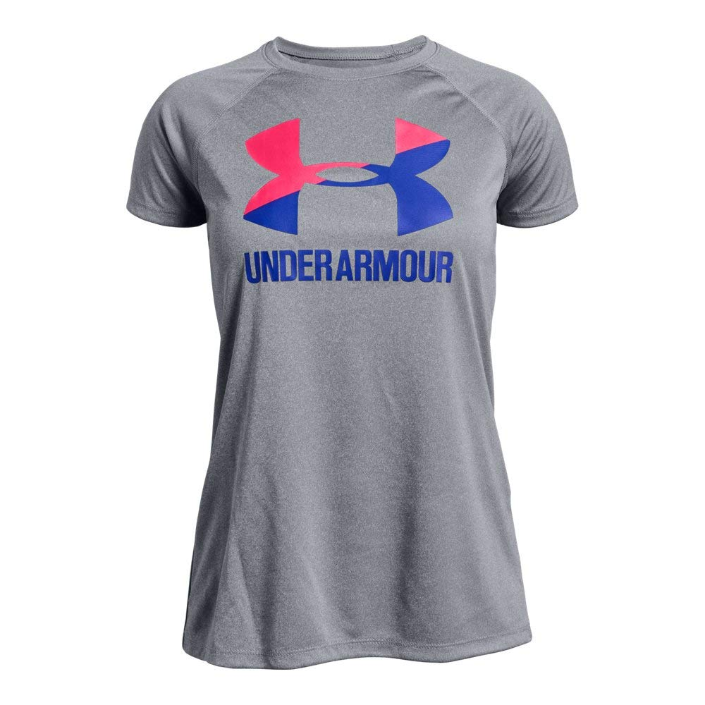 Under Armour girls Big Logo Solid Short Sleeve T-Shirt, Steel Light Heather (035), Youth X-Small