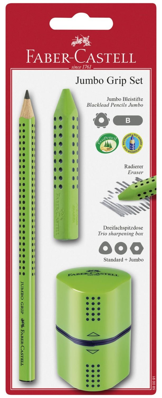 Faber-Castell, 580091–Set Jumbo Grip, 3pezzi, colore: verde chiaro 580091-Set Jumbo Grip