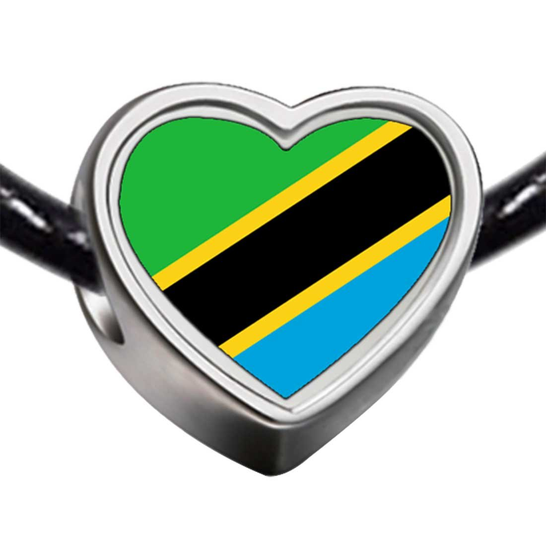 GiftJewelryShop Silver Plated The United Republic of Tanzania Flag Photo Heart Bead Charm Bracelets