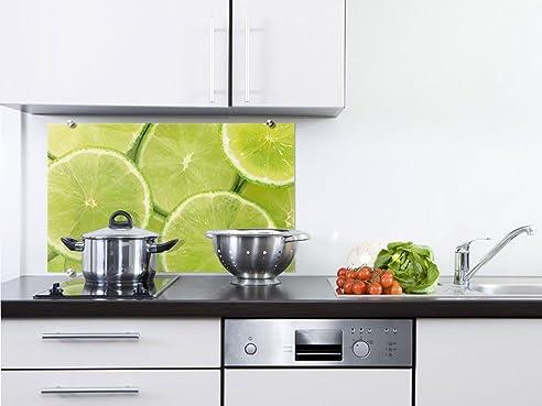 küchenrückwand spritzschutz küche aus glas glasrückwand limetten ... - Küche Spritzschutz Glas