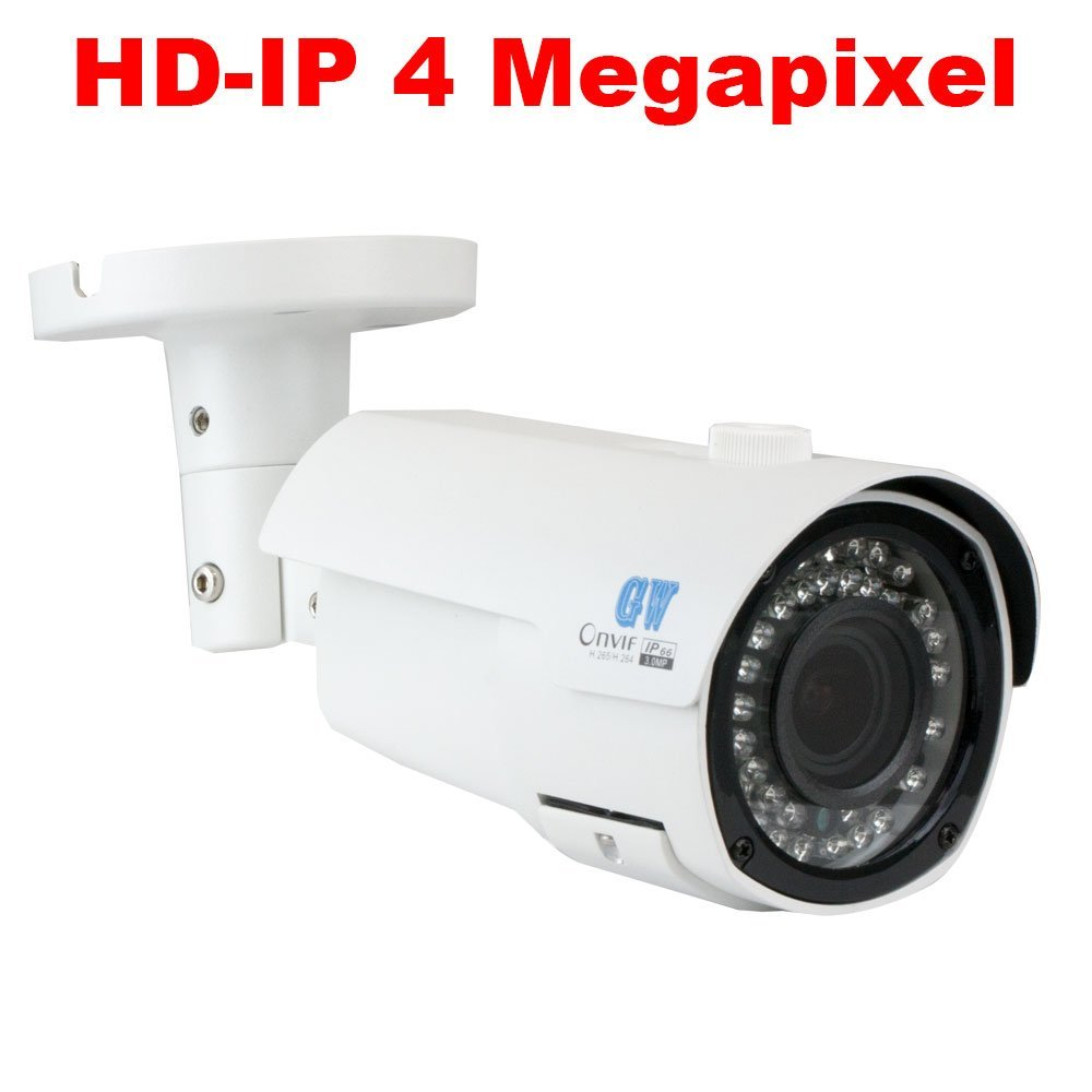 Black//White GW Security 5516NP-4555IP-12-4T H.265 16CH 4K NVR 12x4 MP LED 130 IP Security Camera System