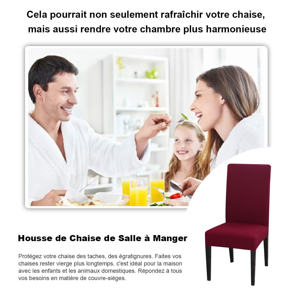 Bordeaux, 4PCS D/écoration Couverture Universel Extensible pour Salle /à Manger Housse de Chaise H/ôtel Maison Facile /à Nettoyer Durable Housse de Chaise Mariage