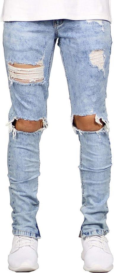 Amazon Com Pantalones De Vestir Cuadrados Con Cremallera Lateral Elastica Para Hombre Pantalones Vaqueros A La Moda Estilo Casual Con Agujero En La Cadera Vaqueros Destruidos Moderno 38 Azul Claro Clothing
