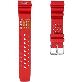d7e69a5a951 ZULUDIVER PU Rubber Watch Strap Dive PU Rubber Red