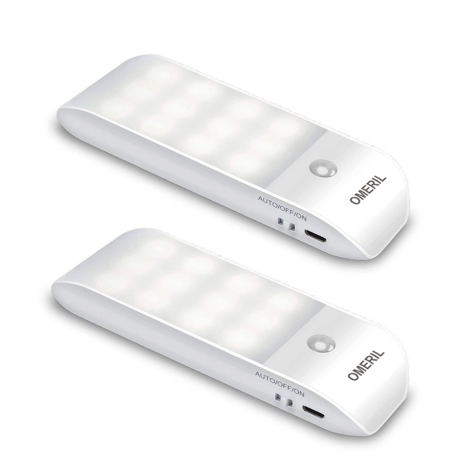 OMERIL Motion Sensor Light, [2 Pack] Cupboard Night Light, USB Rechargeable Battery Powered Light with 24 LED, Removable Magnetic Strip Stick-On Wardrobe, Closet, Cabinet, Kitchen, Stairs, etc [Energy Class A++]