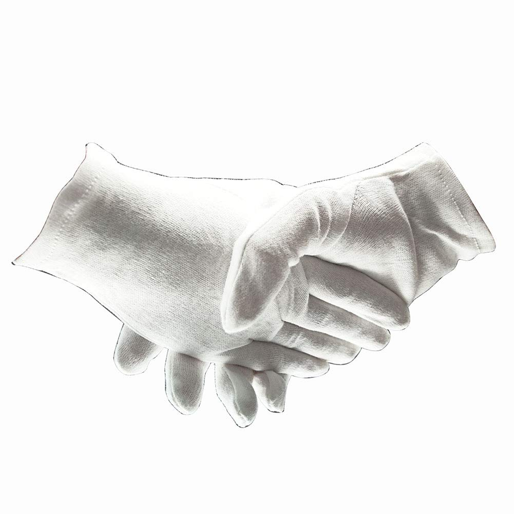 12 Pairs 100% White Cotton Cosmetic Gloves Unisex