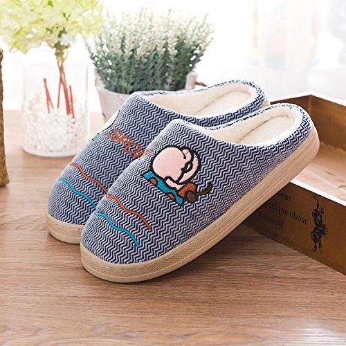 Fankou amore tutto il pacchetto con cotone pantofole home morbido interno piano terra scarpe basse, Pattino a molla ,36/37, scimmia e viola