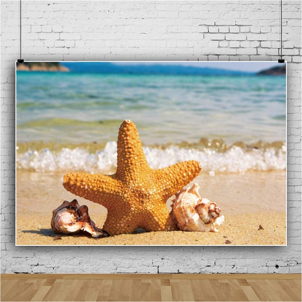 YEELE 10x8ft Beach Photography Backdrop Tropical Starfish Against The Sea Background Seaside Vacation Kid Lovers Portrait Photoshoot Studio Props Summer Luau Party Wedding Photos Wallpaper