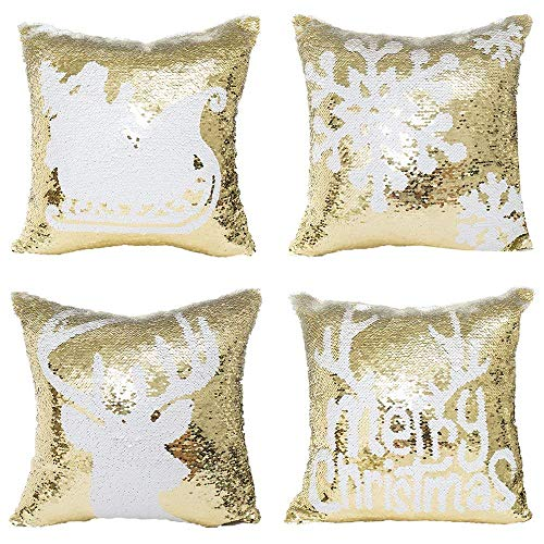 - Bestag Merry Christmas Pattern Glitter Sequins Throw Pillow Case Cafe Home Decor Cushion Covers 16 x 16 Inch,Set of 4 (Gold)