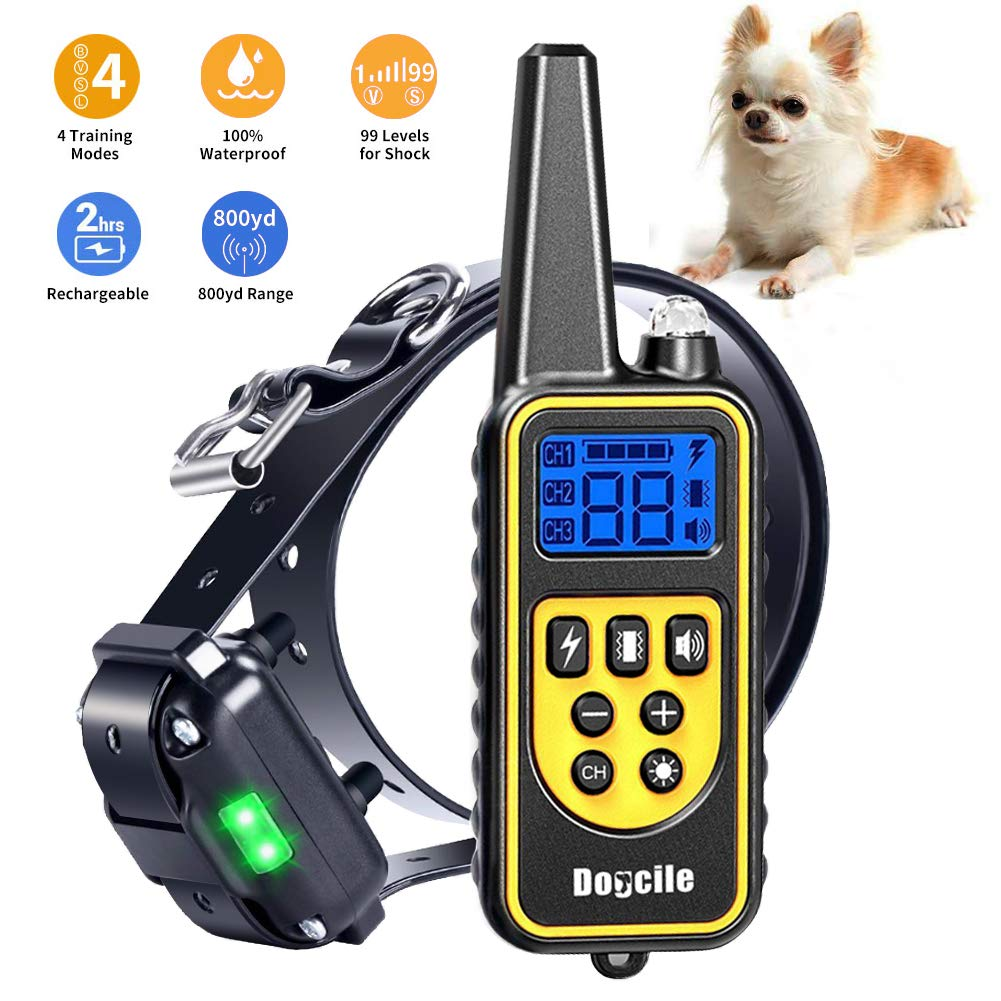 Dog Shock Collar with Remote 800 Yards, Shock Collar for dogs Beep, Vibrate and Shock Modes, IPX7 100% Waterproof Dog Training Collar LCD Display