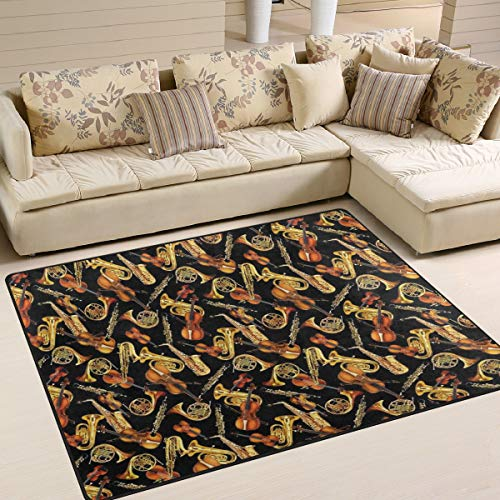 - Gaz X Horns and String Musical Instruments Tossed Black Area Rug Rugs for Living Room Bedroom 7' x 5'
