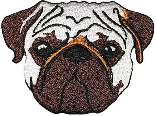 Papapatch Cute Chinese Dog Pug Bulldog Head Pet Cartoon DIY Sewing on Iron on Embroidered Applique Patch (IRON-PUG-DOG)