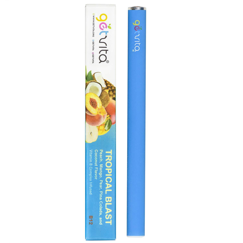 GetVita® (Tropical Blast) - America's Organic B Complex Vitamin Diffuser Inhaler Vaporizer w/Vitamins B1 B6 B12 - Longer Lasting 500+ Inhalations - Peach, Mango, Pear, Pina Colada & Coconut Flavors