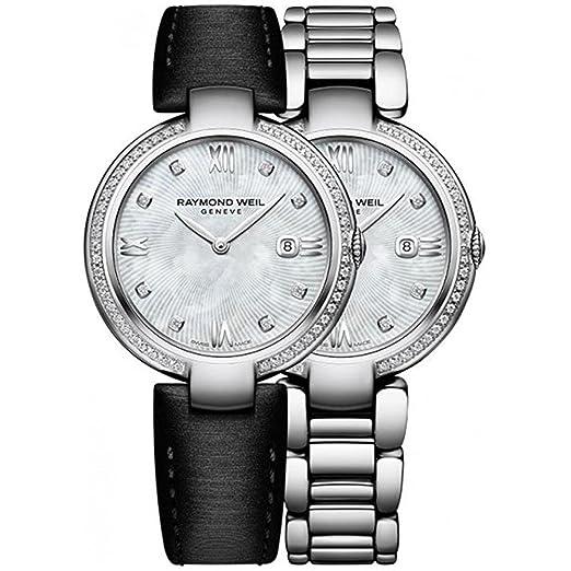 Reloj de Cuarzo Raymond Weil Shine Ladies, 57 Diamantes, Blanco, 32 mm, Día: Amazon.es: Relojes