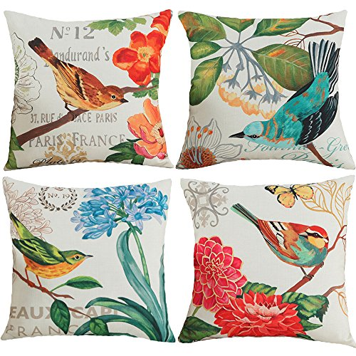 TongXi Bird and Flower Pattern Decorative Throw Pillow Case Cushion Covers 18x18 inches Pack of 4 (Bird) - Pattern Cushion