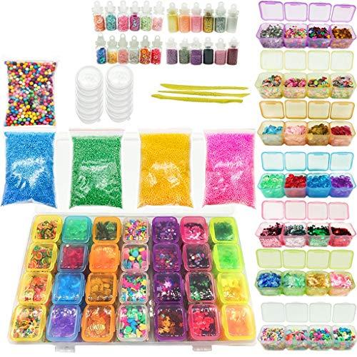 Binory 70 Packs DIY Slime Kit Supplies Clear Crystal Slime Making Kit,Slime Foam Balls,Glitter Jars,Fruit Slices,Glitter Sequins,slime tools,False knife,Stress Reliever Clay Toy,Novelty DIY Making Toy