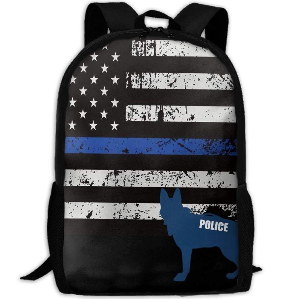 klnsha7 American警察犬ユニークなキャンバスバックパックショルダーバッグブックバッグスクールバッグ旅行バックパックfor Teens   B07G21KSK1