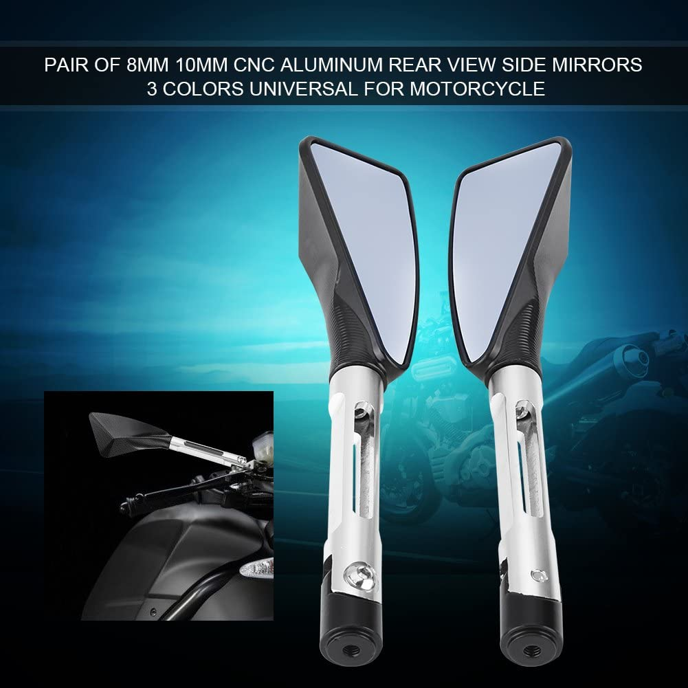 Pair of Rear-View Mirrors 8 mm 10 mm CNC Aluminium Universal for Motorcycle 3 Colours