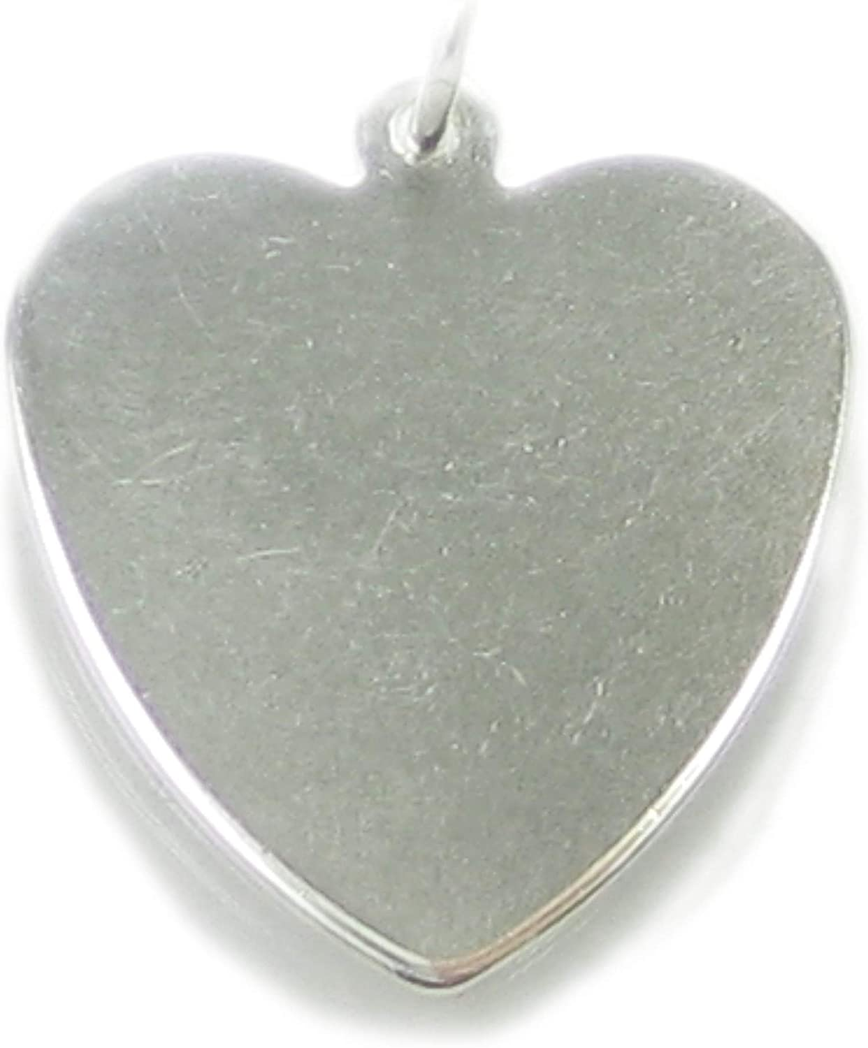 18mm x 14mm Solid 925 Sterling Silver Engravable Heart Front//Back Disc Charm Pendant