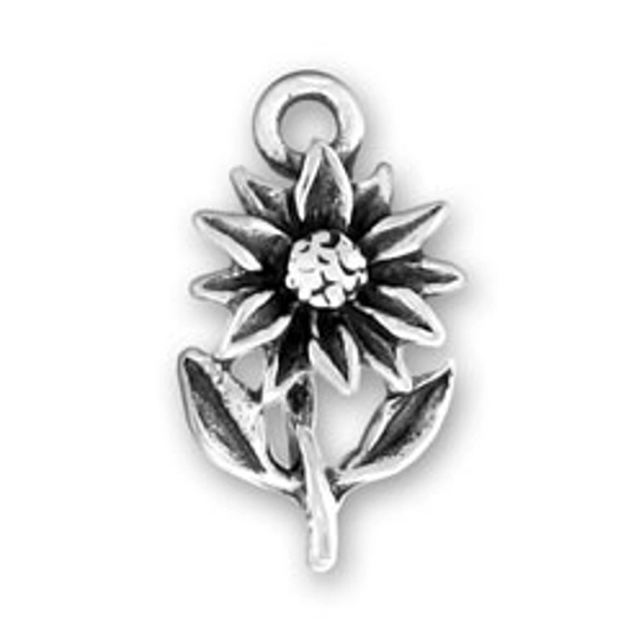Sterling Silver Girls .8mm Box Chain 3D Sunflower Plant Leaves Pendant Necklace
