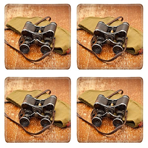MSD Square Coasters Non-Slip Natural Rubber Desk Coasters design: 31602281 Victory Day on May 9 Military binoculars field cap Retro style Vintage Military Style Black Fatigue