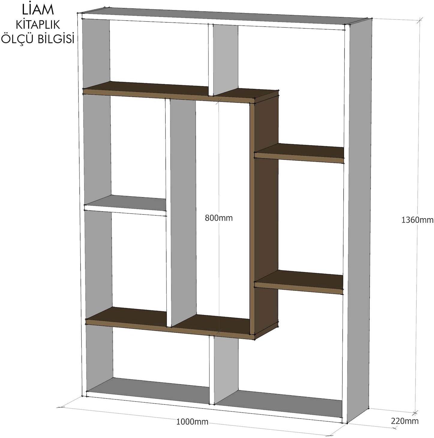 Homemania Libreria Liam Scaffale Mobile Bianco in Legno con Ripiani 100 x 22 x 136 cm Ufficio Noce da Salotto