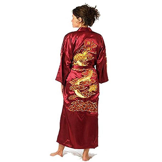 Hombre Dragon Floral Satén Kimono Albornoz Unisex Saco de Dormir Wear Nightwear Unisex Seda Yukata hakma Rojo Rosso: Amazon.es: Ropa y accesorios