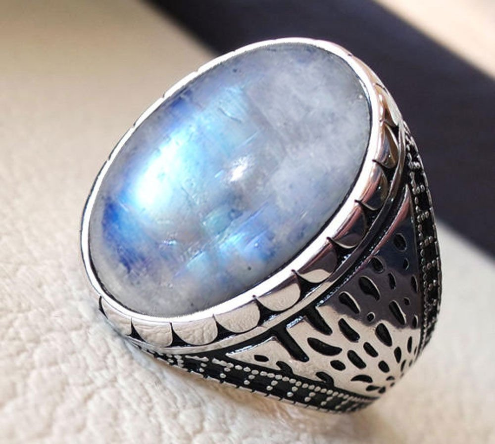 Big Rainbow Moonstone Ring, Solid 925 Sterling Silver Jewelry, Natural Healing Gemstone Ring, Handmade Jewelry, Mens Statement Ring, Arabic Ring, Biker Ring, Bohemian Ring, Mens Filigree Ring
